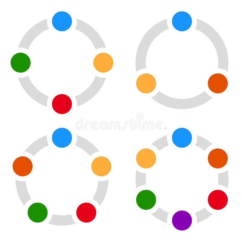 Set of circular charts, graphs, diagrams 3,4,5,6 steps. Royalty free vector illustration stock illustration