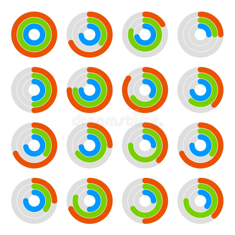 Set of Circular Colored Progress Diagram. Vector. Illustration royalty free illustration