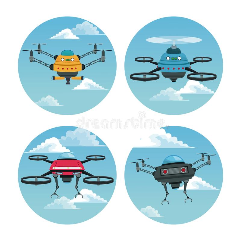 Set circular frame with sky landscape scene and robot drone with airscrew. Vector illustration stock illustration
