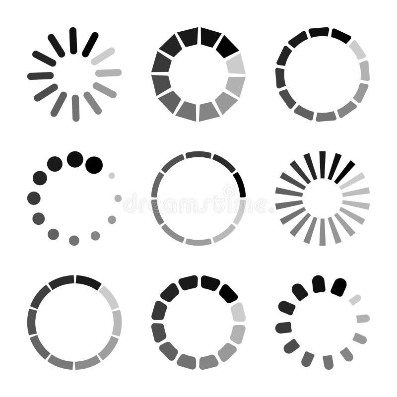 Set of circular loading icons, waiting signs. Progress bar for upload download round process. Vector. Illustration stock illustration