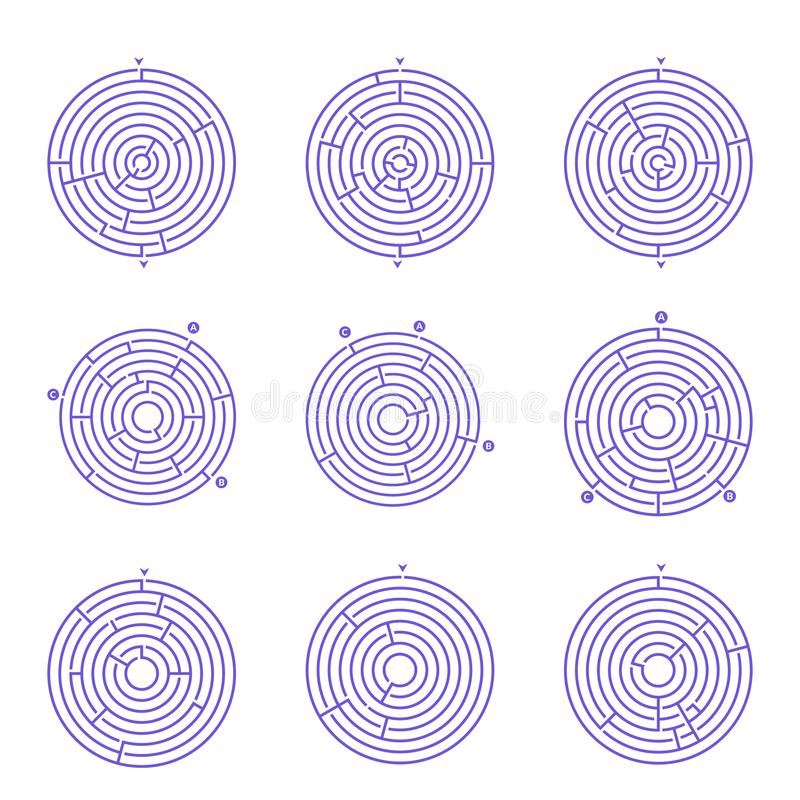 Set of circular maze labyrinth games. stock illustration
