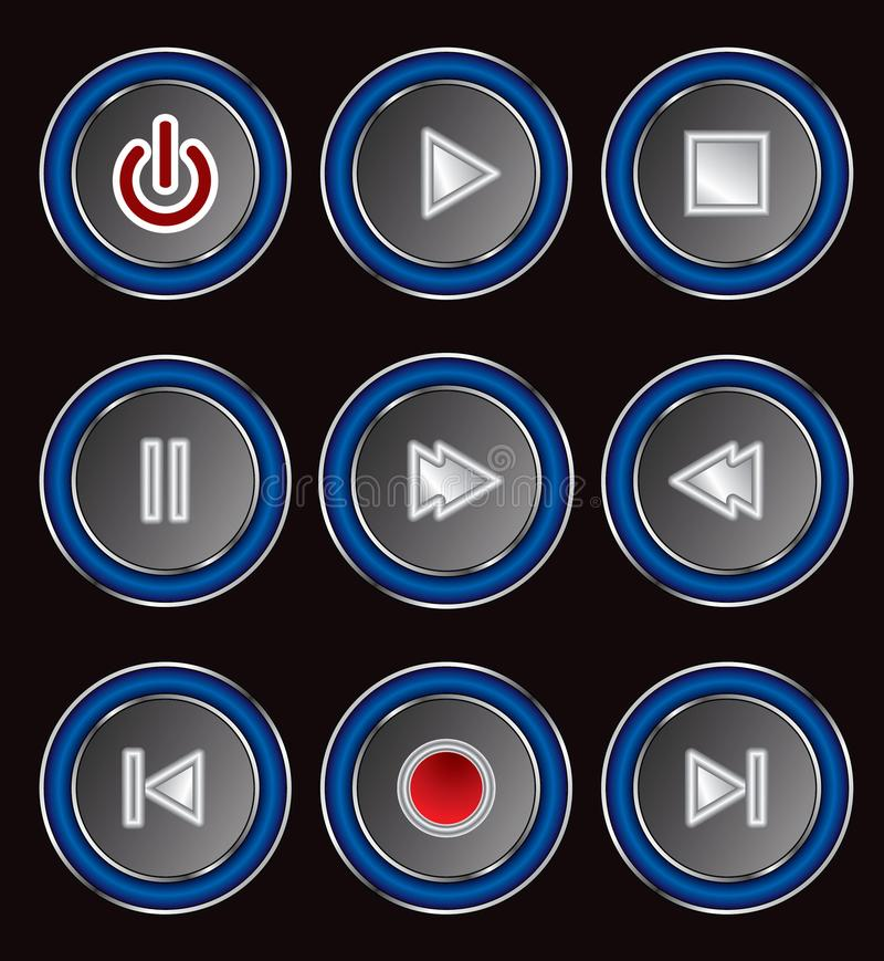 set of circular media player buttons royalty free stock photography