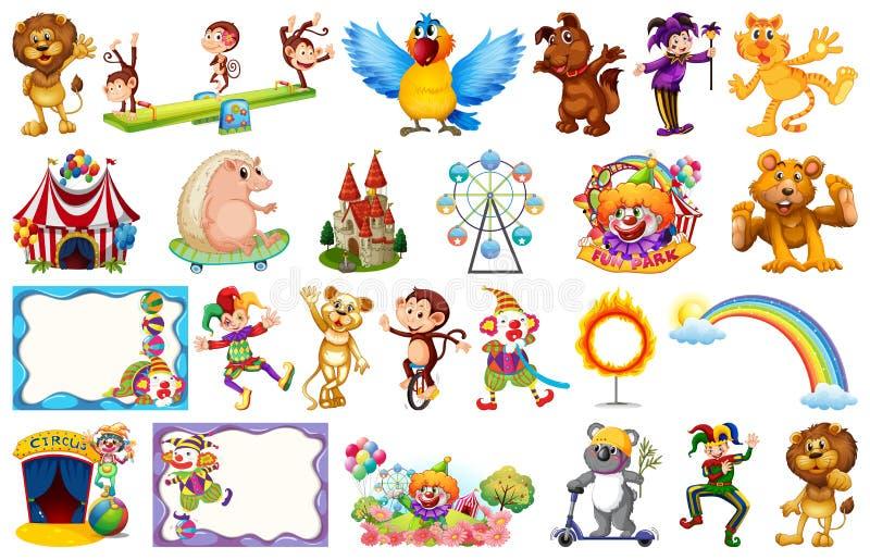 Set of circus animal stock illustration