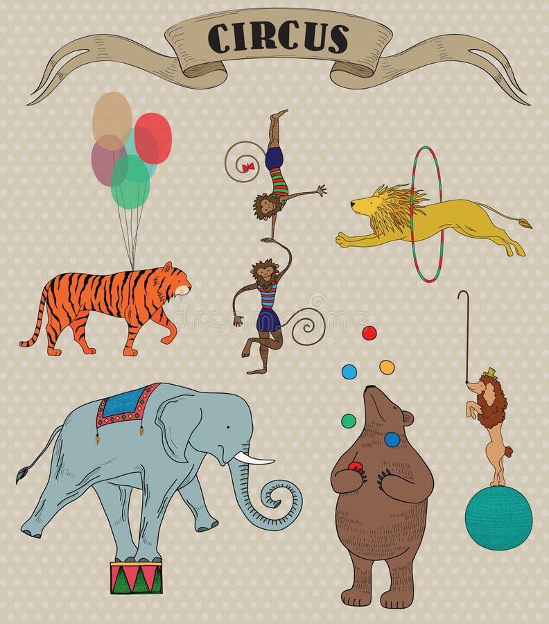 Set Of Circus Animals Stock Photos