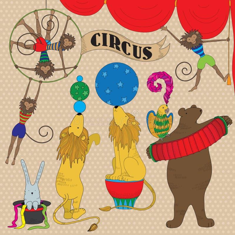 Set Of Circus Animals Royalty Free Stock Photo
