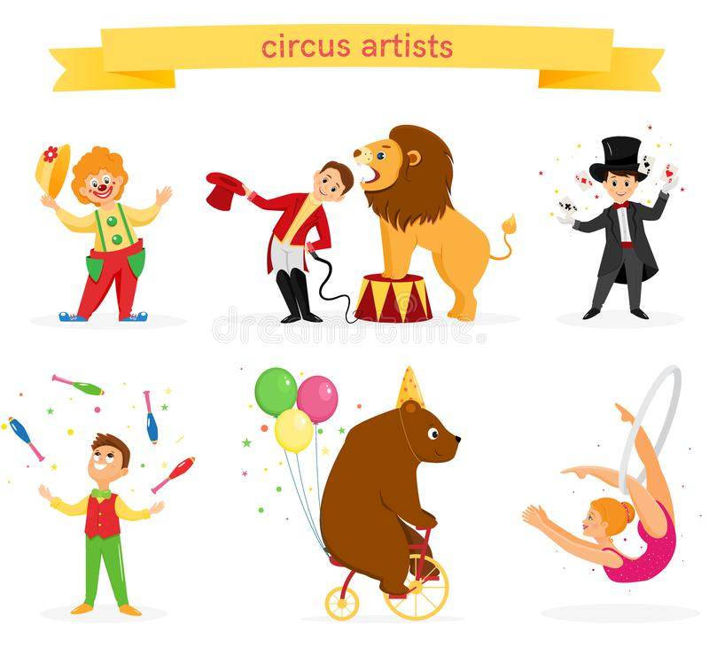 A set of circus artists. A set of colored circus artists. Circus performers perform tricks.Flat cartoon style. Vector illustration royalty free illustration