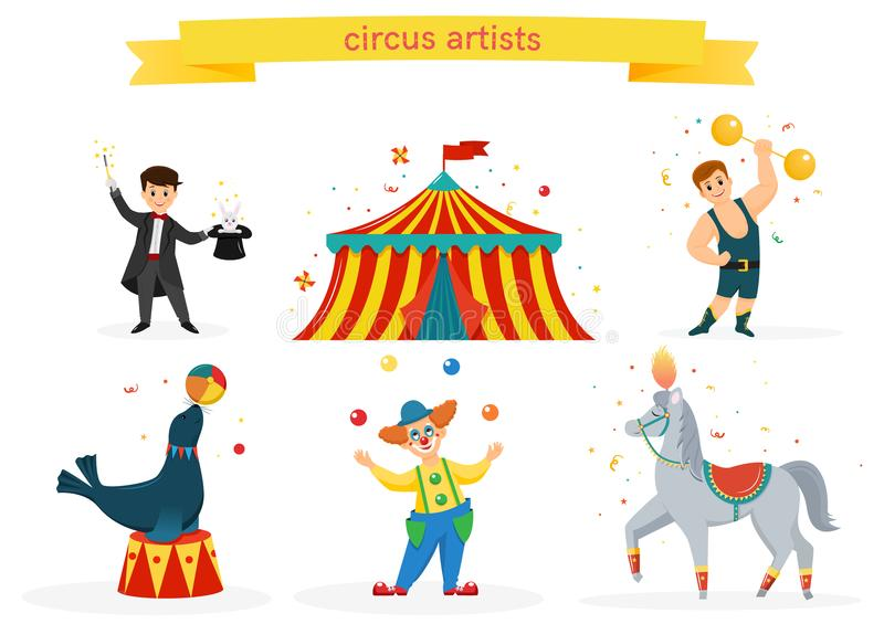 A set of circus artists. A set of colored circus artists. Circus performers perform tricks.Flat cartoon style. Vector illustration stock illustration