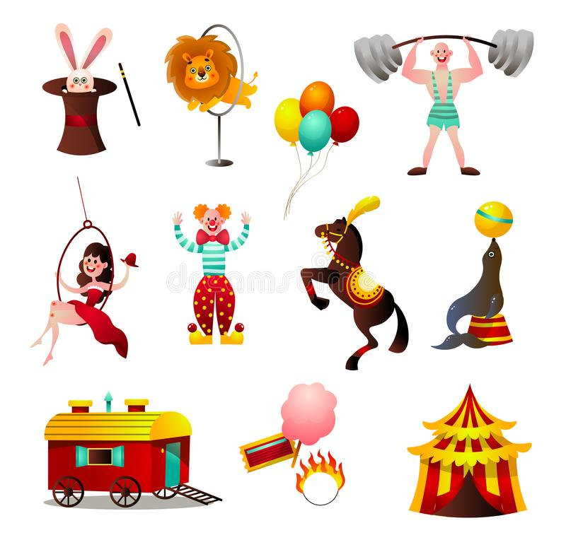 Set of circus colorful animals and person at holiday arena stock illustration