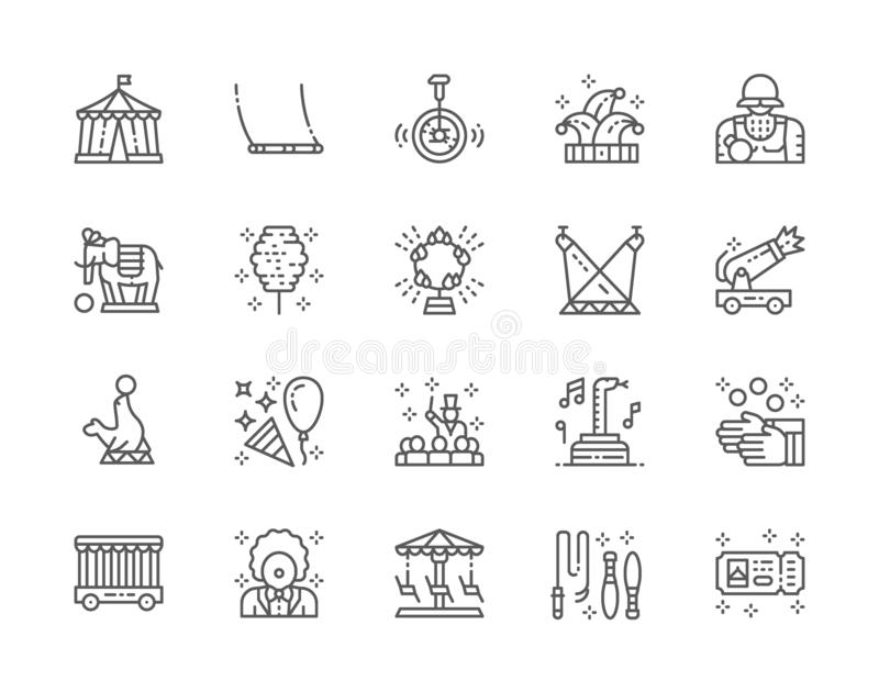 Set of Circus Line Icons. Clown, Swing, Unicycle, Jester Hat, Elephant and more. Set of Circus Line Icons. Clown, Swing, Unicycle, Jester Hat, Elephant, Fur vector illustration