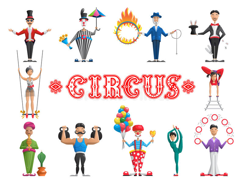 Set circus performers vector illustration