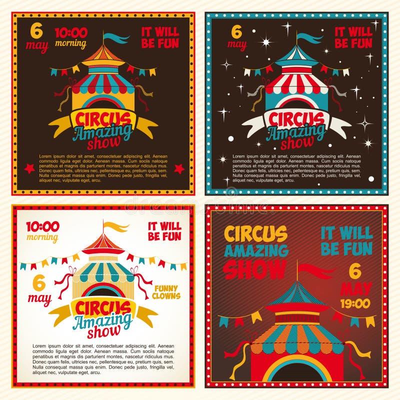 Set circus posters royalty free illustration