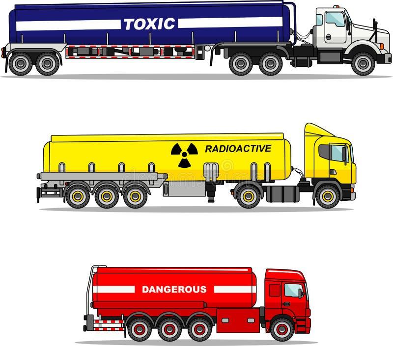 Set of cistern trucks carrying chemical, radioactive, toxic, hazardous substances isolated on white background in flat. Detailed illustration of cistern trucks royalty free illustration