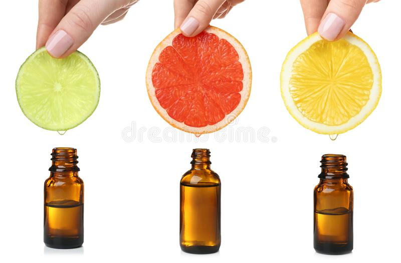Set with citrus essential oils royalty free stock image
