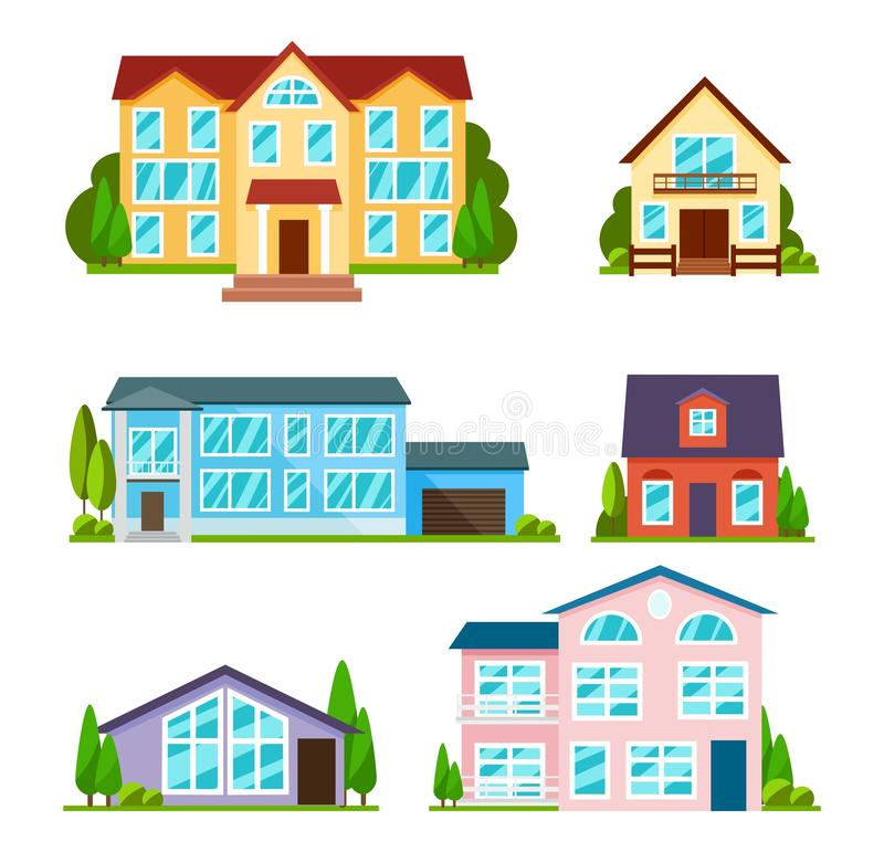 Set of city buildings in flat style. Modern houses, school and university. Residential houses exterior. Townhouses and apartment vector illustration