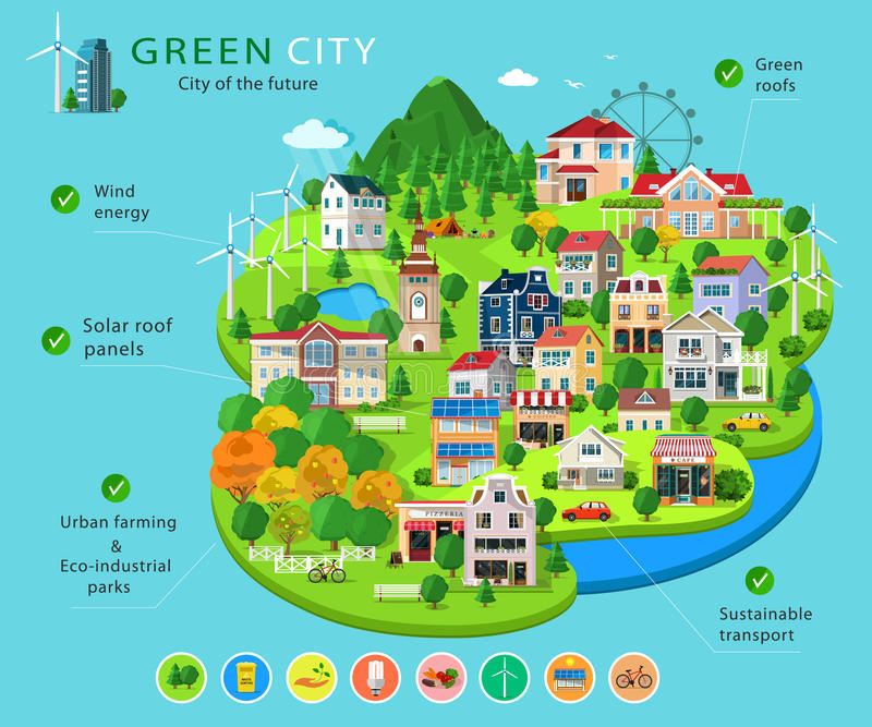 Set of city buildings and houses, eco parks, lakes, farms, wind turbines and solar panels, ecology infographic elements. royalty free illustration