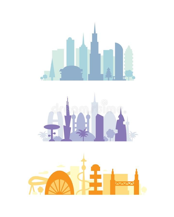 Set city buildings silhouettes. cityscape in future. Modern town elements vector illustration.  vector illustration
