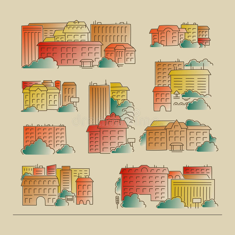 Set - the city vector illustration