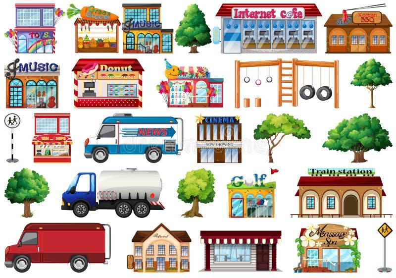 Set of city objects royalty free illustration