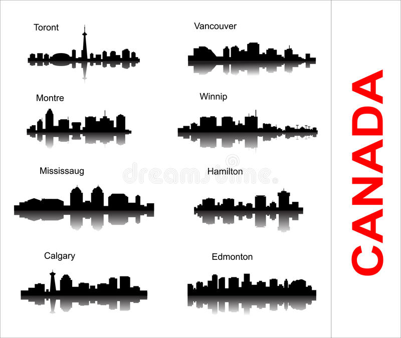 Set City silhouette in Canada. Popular canadian cities with reflection on white background vector illustration