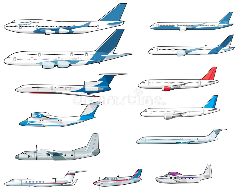 Download Set Of Civilian Airplananes Royalty Free Stock Photography - Image: 7620637