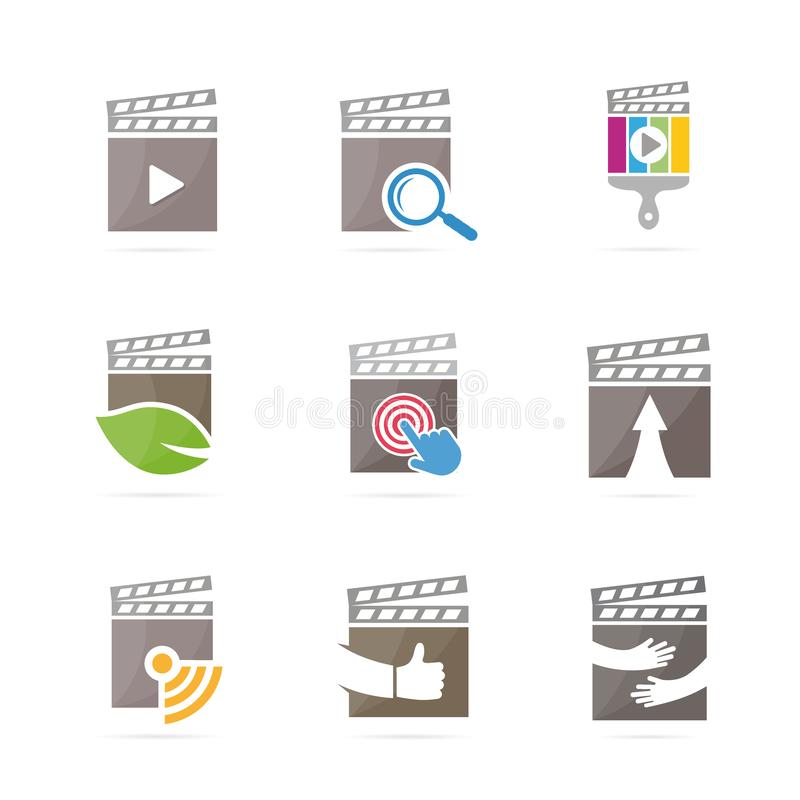 Set of clapperboard logo combination. Movie and cinema symbol or icon. Unique film and video logotype design template. Logo or icon design element for companies stock illustration