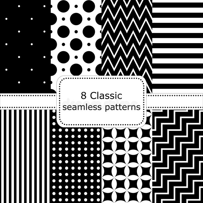 Set of 8 classic black - white seamless patterns stock illustration