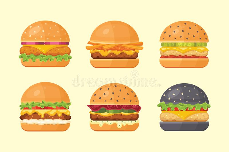 Set of classic burgers with flying ingredients. Vector hamburger icons. vector illustration