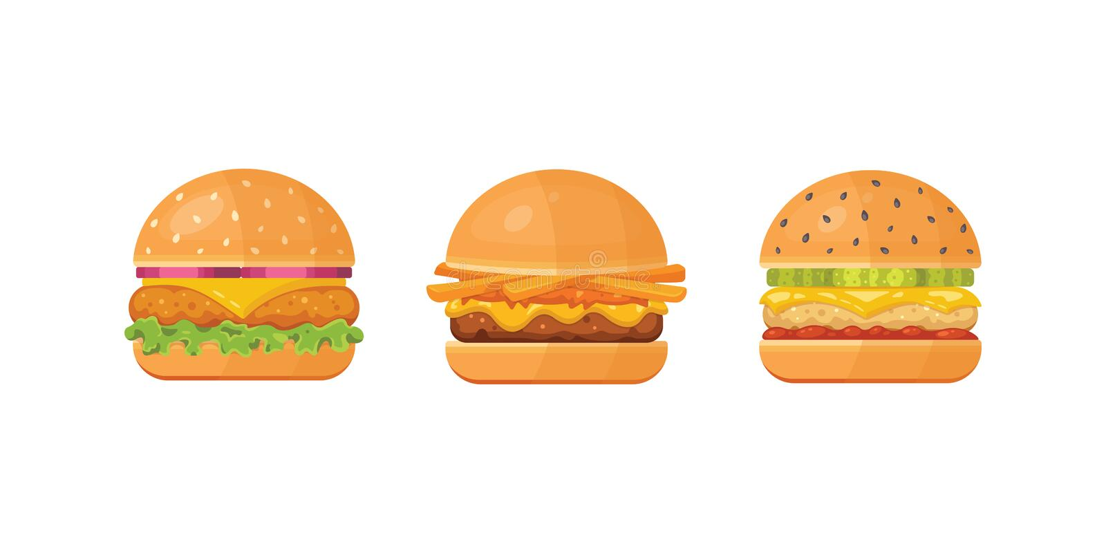 Set of classic burgers with flying ingredients. Vector hamburger icons. stock illustration