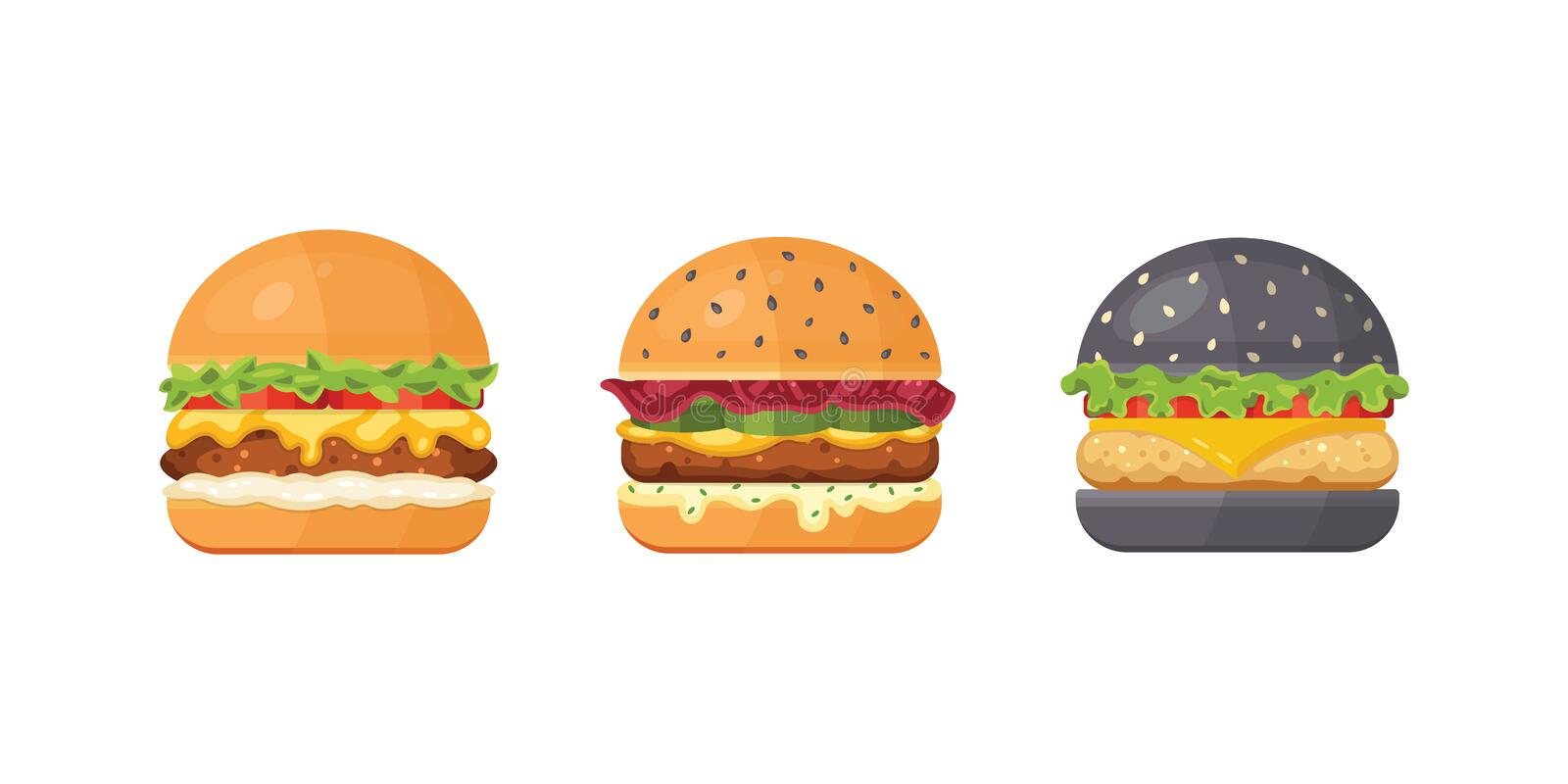 Set of classic burgers with flying ingredients. Vector hamburger icons. royalty free illustration