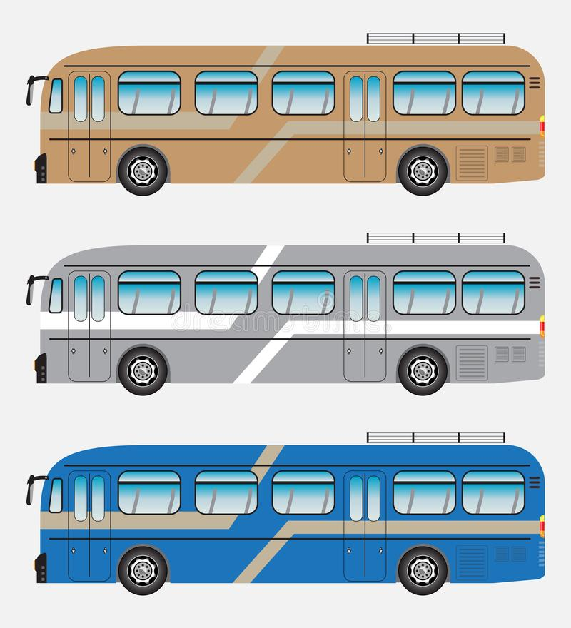 Set of Classic Bus or Intercity 12 Meter Bus Vector vector illustration