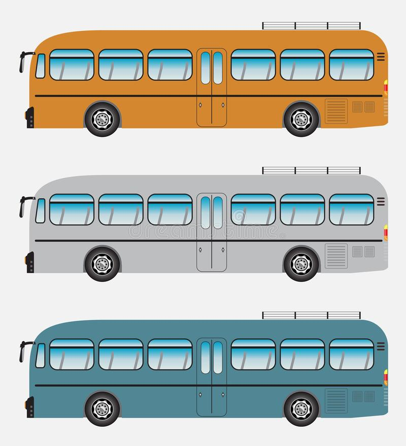 Set of Classic Bus or Intercity 12 Meter Bus Vector stock illustration