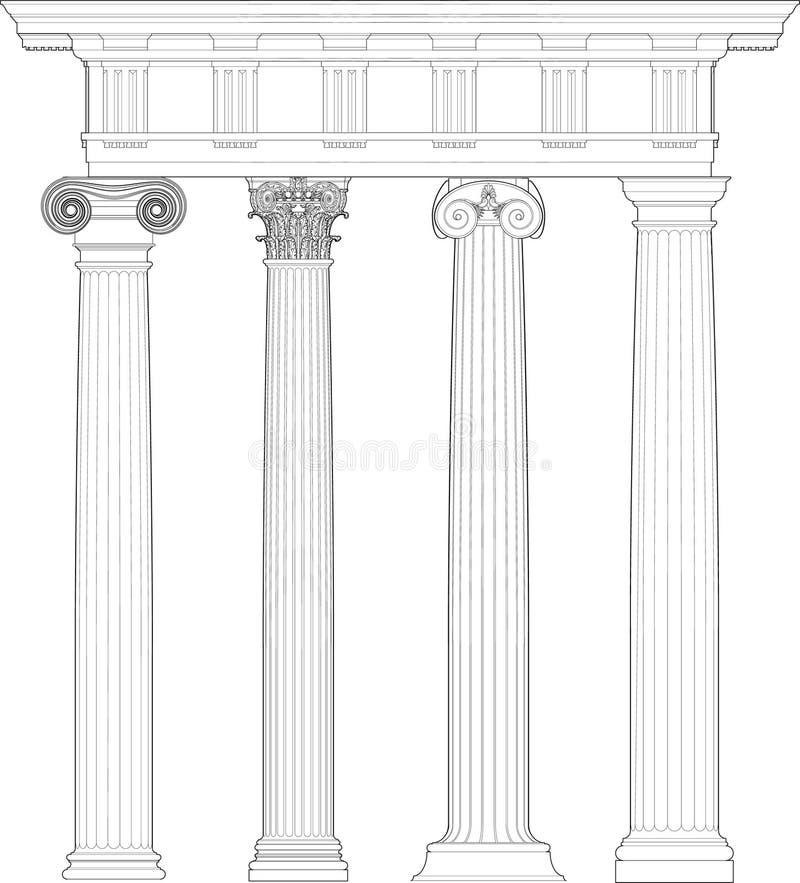 Set Classic Columns Royalty Free Stock Image