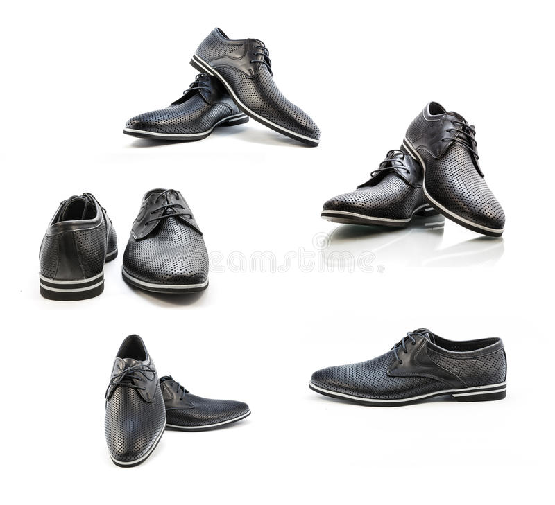 A set of classic leather shoes on a white background royalty free stock photo