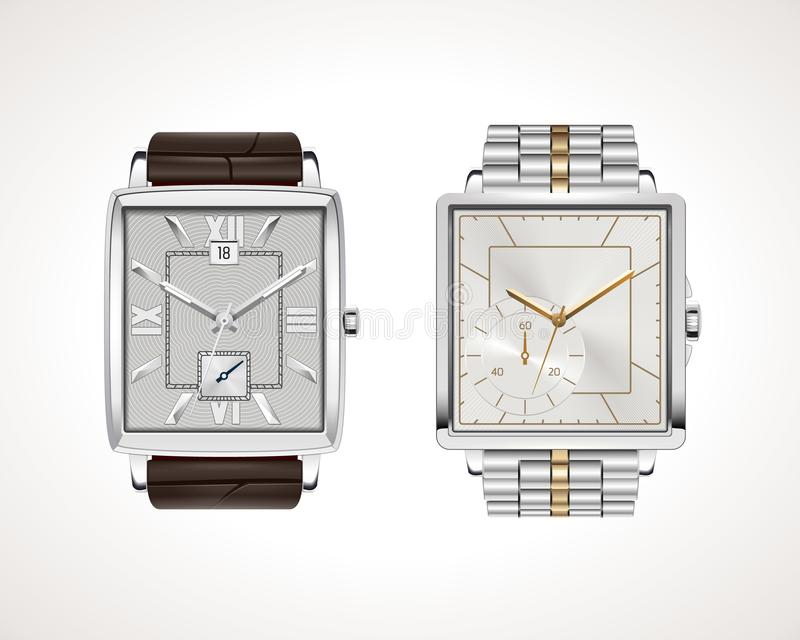 Set of classic and modern mens watches. Vector illustration of classic watches with different watch faces vector illustration