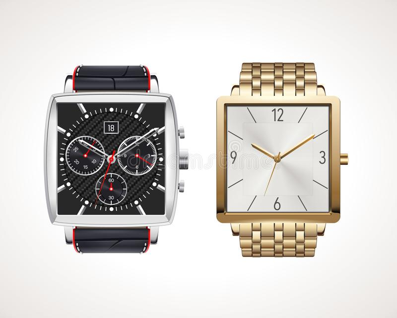Set of classic and modern mens watches. Vector illustration of classic watches with different watch faces royalty free illustration