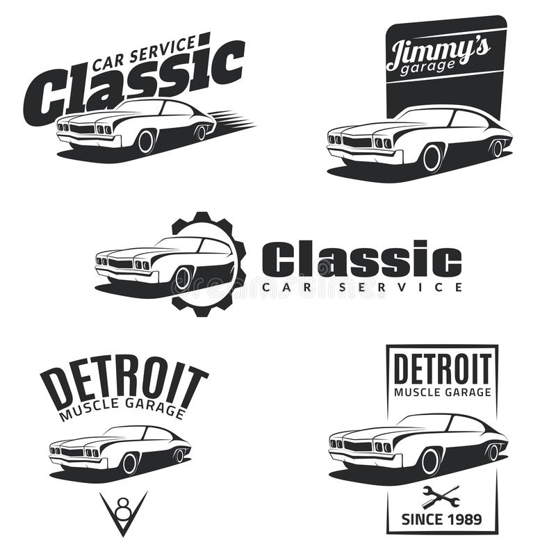Set of classic muscle car emblems, badges and icons. royalty free illustration