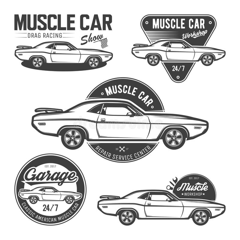 Set of classic muscle car emblems vector illustration