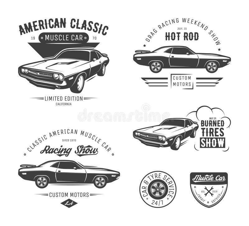 Set of classic muscle car emblems vector illustration