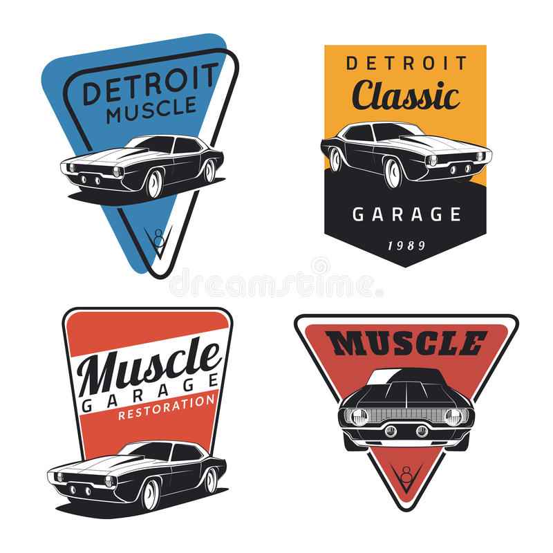 Set of classic muscle car emvlems vector illustration