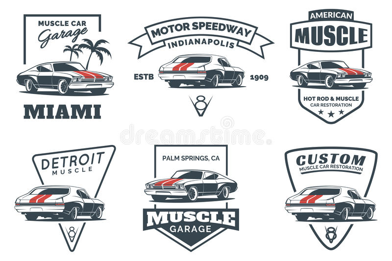 Set of classic muscle car logo, emblems, badges and icons. vector illustration