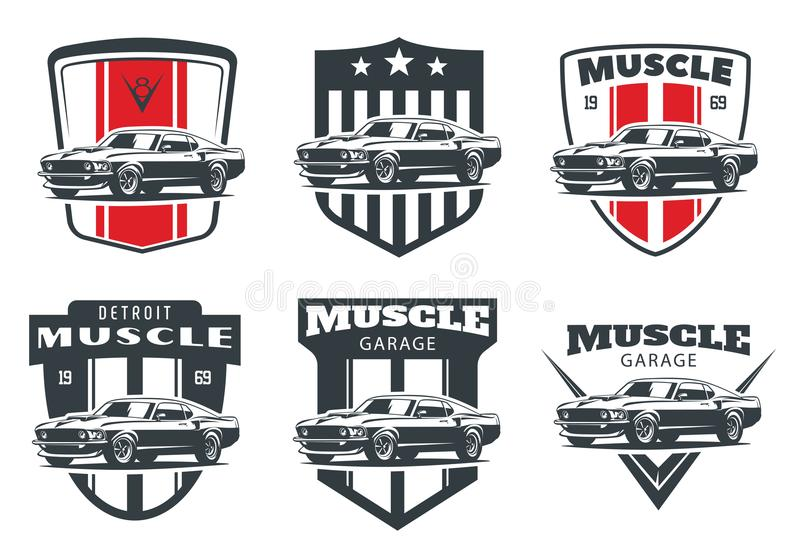 Set of classic muscle car logo, emblems and badges. Set of classic muscle car logo, emblems and badges isolated on white background stock illustration