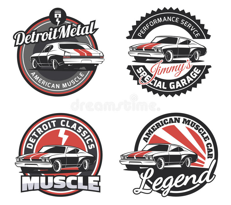 Set of classic muscle car round emblems, badges and signs. royalty free illustration