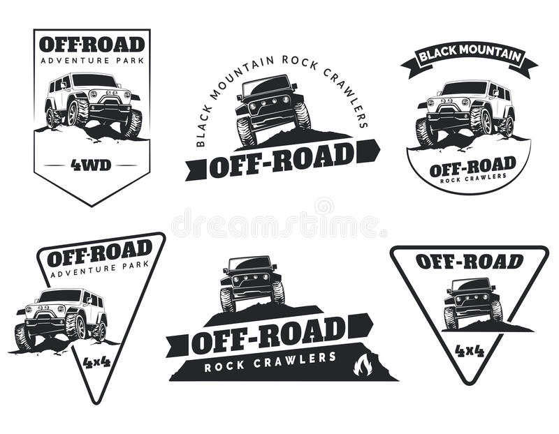 Set of classic off-road suv car emblems, badges and icons. Rock royalty free illustration