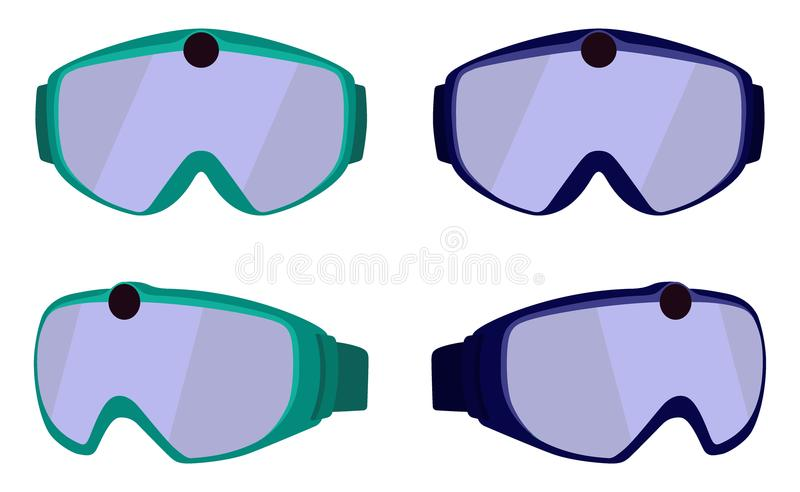 Set of classic ski and snowboard glasses with colored rims. Goggles with integrated action camera. Vector illustration in flat sty stock illustration
