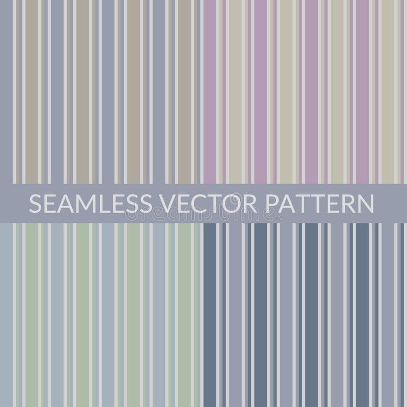 Set of classic stripes seamless patterns. Beige, pink, green and blue striped background in retro, vintage style. Design stock illustration