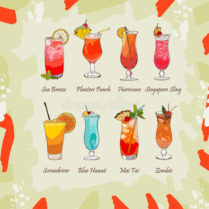 Set of classic tropical cocktails on abstract background. Fresh bar alcoholic drinks menu. Vector sketch illustration collection. Hand drawn. Beverage set vector illustration