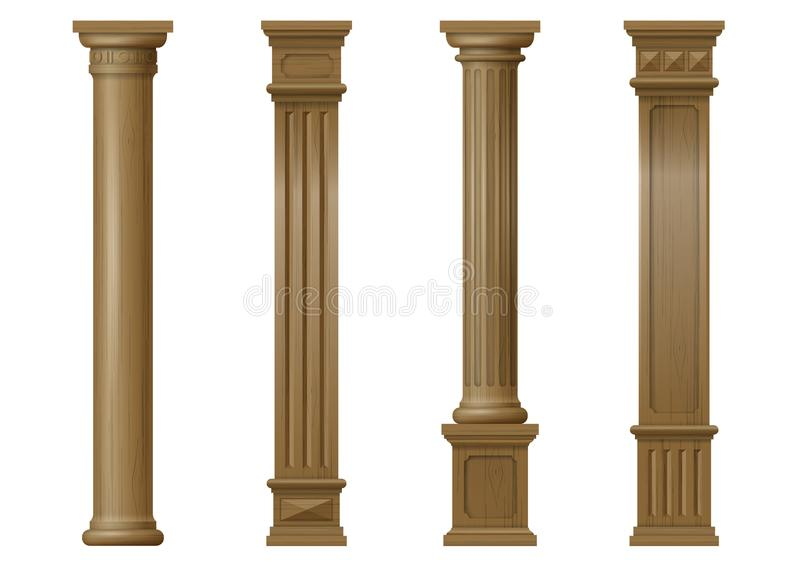 Set of classic wood columns. Set vintage classic wood carved architectural columns with ornament for interior or facade. Joinery elements or balusters. Vector stock illustration