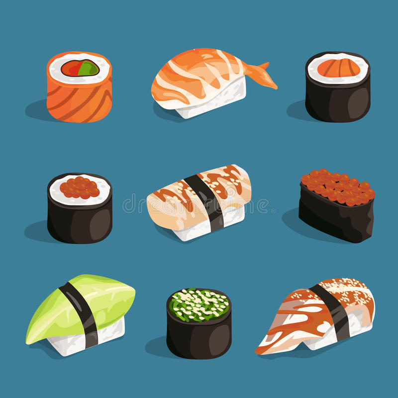 Set of classical asian food. White rice, sushi, salmon nori and different rolls. Vector pictures in cartoon style stock illustration