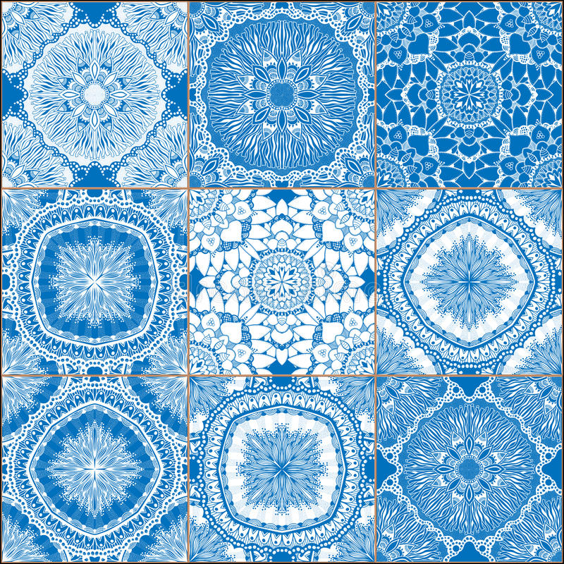Set of classical blue ceramic tiles stock vector - Piastrelle spagnole ...