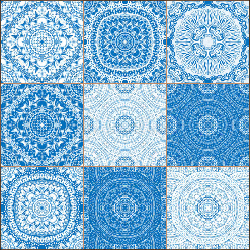 Set of classical blue ceramic tiles. Creative set of classical blue ceramic tiles. Doodles mosaic with hand drawn floral and geometrical patterns. Lines, flowers royalty free illustration
